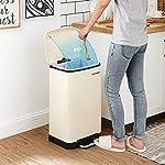SONGMICS-Cubo-de-basura-Cubo-de-reciclaje-de-30L-de-pedal-Acero-con-cubo-interior-y-tapa-Cierre-suave-Hermetico-para-cocina-sala-de-estar-Blanco-Nube-LTB001A01