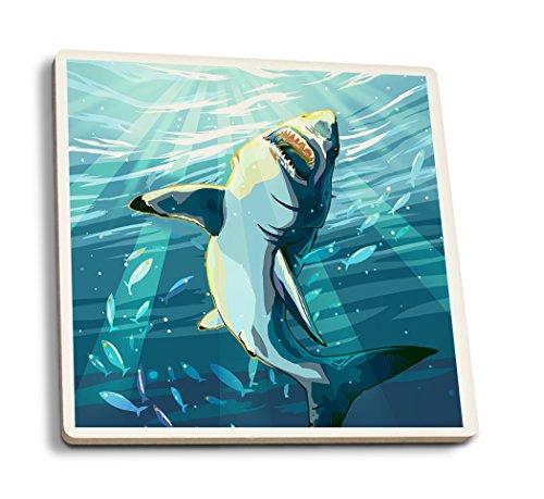 (Lantern Press Stylized Great White Shark (Set of 4 Ceramic Coasters - Cork-Backed, Absorbent))