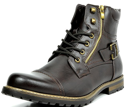 Bruno Marc Men's Philly-3 Dark Brown Military Combat Boots – 6.5 M US