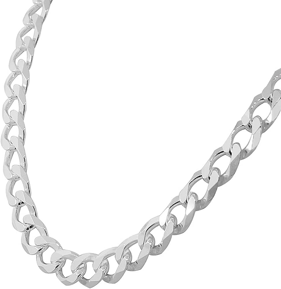 925 Sterling Silver Mens Classic Cuban Curb Link Chain Necklace Bracelet Set Made in Italy