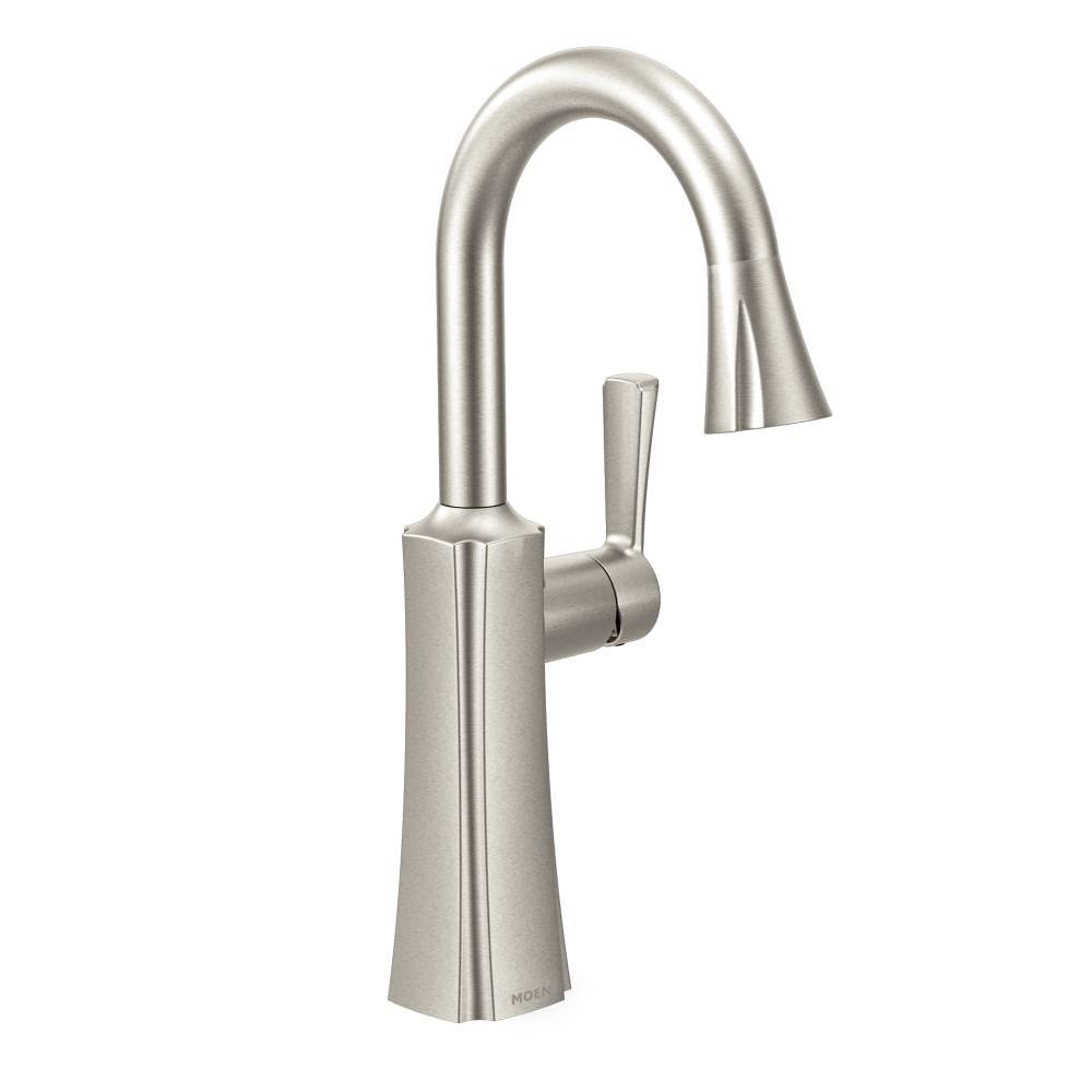 S62608SRS Moen Etch One-Handle High Arc Pulldown Single Mount Bar Faucet Spot Resist Stainless
