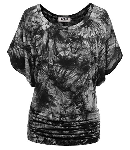 DJT Women's Boat Neck Short Kimono Sleeve Dolman Top Large Tie Dye-Black Mini Dress Kimono Top
