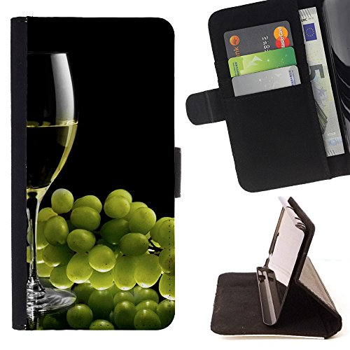 Momo Phone Case / Wallet Leather Case Cover With Card Slots - Download A Nice Glass Of Chardonnay - Samsung Galaxy S4 IV (Chardonnay 4 Glasses)
