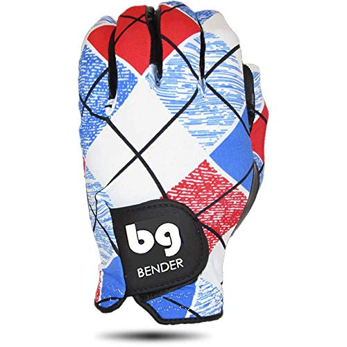 BG Bender Gloves Women's Spandex Golf Glove, Worn on Left Hand (Plaid, Medium)