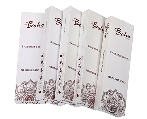 The Boho Street Premium Incense Sticks - 8 Assorted Fragrances Sandalwood, Patchouli, Nag Champa, Lavender, Rose 20 sticks each 100% Hand Rolled & Dipped in India 20 x 8 Total 160 Sticks pack (160)