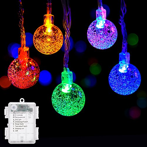 Globe String Lights, DecorNova 9.8 Feet 15 LED Battery Operated Crystal Ball String Lights with Waterproof 3 AA Battery Case, 8 Lighting Modes for Indoor Outdoor Decorations, Multi Colors