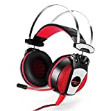 GranVela GS500 Wired PC Gaming Headset Over Ear Stereo Headphone with Microphone, Noise Isolation for PS4/Notebook/Laptop - Red