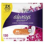 Always Discreet Incontinence Liners, Very Light, Regular Length, 120 Count (5 Pack(120 Count))