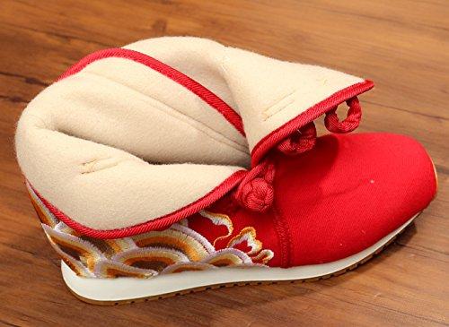 Icegrey Main Brodé Bottines Doublées En Polaire Molleton Bottes De Neige Doublé De La Femme Rouge k8ywLcq