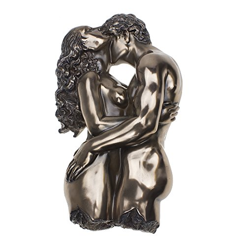 COMLZD® 11.5 Inch Artistic Embracing Nude Lovers Sculpture, Bronzed Finish Nude Couples Smooch Romantic Wall Plaque Statues Decor