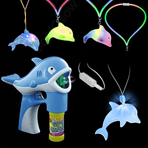 Fun Central BC980 3 Pieces Dolphin Party Pack- LED Bubble Gun Blower, LED Flashing Lanyard, LED Light Up Dolphin Pendant Necklace, Fun Party Pack - Blue]()