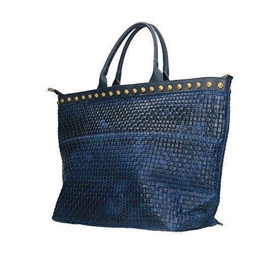 cuir Italy Cm in 53x34x20 tressé avec en cuir Made bandoulière Borse imprimé Bleu en à main Sac véritable Chicca q7SOTtt