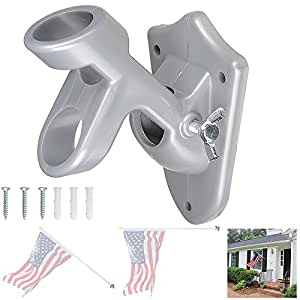 "YesHom 2 Positions 1"" Flag Pole Bracket Wall Mount Flagpole Holder Home Outdoor"