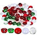Winlyn Christmas Glass Gems and Jingle Bells Mix Metal Craft Bells Flat Glass Marbles for Holiday Winter Wedding Seasonal Decorations Crafts Aquarium Vase Filler Table Scatter 110 pcs 0.8""
