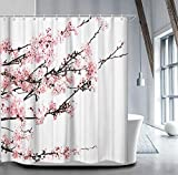 Cherry Blossom Shower Curtain Livilan Cherry Blossom Shower Curtain Set with 12 Hooks Floral Shower Curtain Decorative Mildew Resistant Waterproof Polyester Fabric Bathroom Curtain, Pink 72