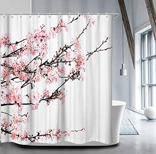 Livilan Cherry Blossom Shower Curtain Set with 12 Hooks Floral Shower Curtain Decorative Mildew Resistant Waterproof Polyester Fabric Bathroom Curtain, Pink 72