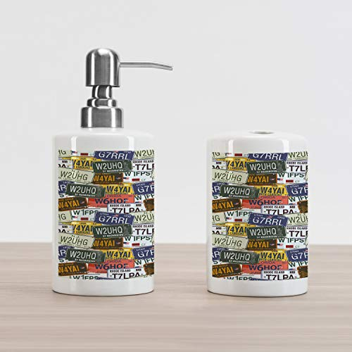 Ambesonne USA Soap Dispenser and Toothbrush Holder Set, Retro American Auto License Plates Utah Washington Rhode Island North Carolina Print, Ceramic Bathroom Accessories, 4.5