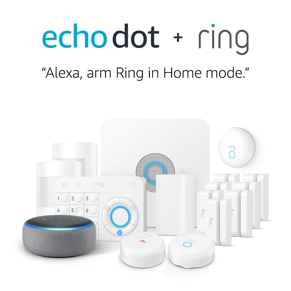Ring Alarm Enhanced Protection Kit + Echo Dot (3rd Gen), Works with Alexa
