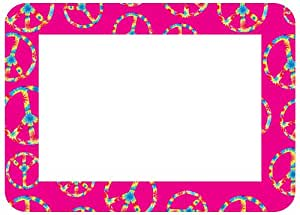Fodeez Frames Trendy Kidz 5 x 7 Inches Photo Area Peel and Stick Adhesive Picture Frame/Dry Erase Board Pink Peace Sign