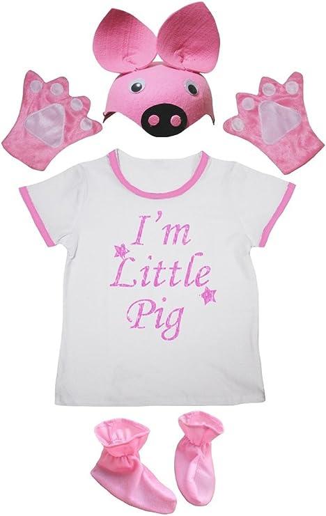 Petitebelle Estoy Cerdito camisa rosa zapatos del sombrero de la muchacha del traje Guante de 4 piezas 1-2 años Rosa claro, blanco: Amazon.es: Bebé