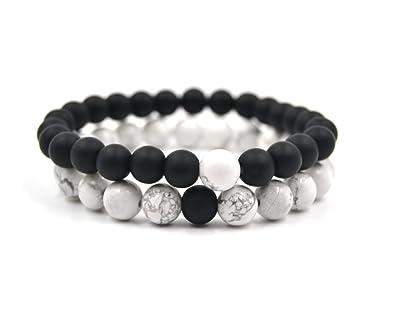 Juego de Pulseras de Piedras Naturales de Turquesa Blanca y Onix Mate, ideal para Chakras, Yoga, Reiki, Meditación