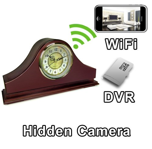 - PalmVID WiFi Mantel Clock Hidden Camera Spy Camera with Live Video Viewing