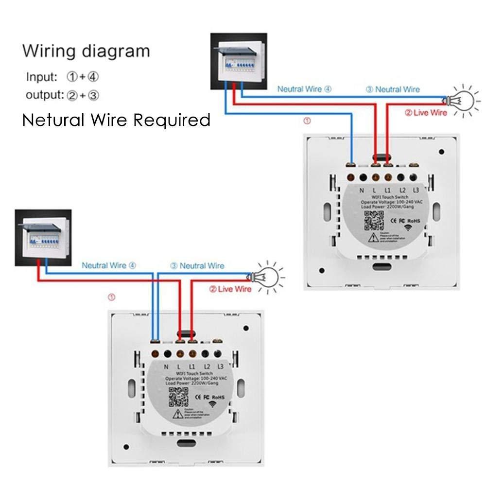 leegoal Interrupteur WiFi Alexa Compatible avec Alexa et Google Home Fonction de synchronisation Interrupteur Tactile sans Fil Intelligence commutateurs muraux avec Voice APP t/él/écommande