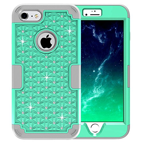 iPhone 7 Case, JDBRUIAN 3 Piece Diamond Studded Bling Case Heavy Duty Protective High Impact Resistant Hybrid Cover Case with Hard PC+ Soft Silicone for iPhone 7 4.7 inch,Mint Green/Silvery