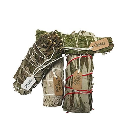 Cedar Sage (Variety Smudge Sticks an Opportunity to Sample the Finest White Sage, Lavender, Cedar, and Black Sage one of each 4 inches long.)