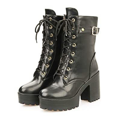 9eabd751cc86 SaraIris Women s Chunky Heel with Platform Faux Fur Lined Lace up Military  Mid Calf Boots Black