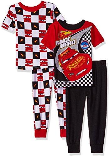Disney Toddler Cars Boys 4-Piece Cotton Pajama Set, Racer Black, 2T