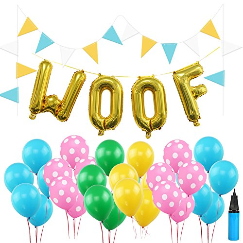 16 Inch WOOF Dog Birthday Decorations Set, 30 PCS Multicolor Latex Balloons 9 Feet Flag Puppy Dog Birthday Decors with Air (Dog Birthday Decorations)