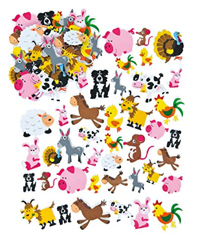 Baker Ross Farm Animal Foam Stickers for Children to Make Decorate and Personalize Countryside Collages Arts and Crafts (Pack of 96)