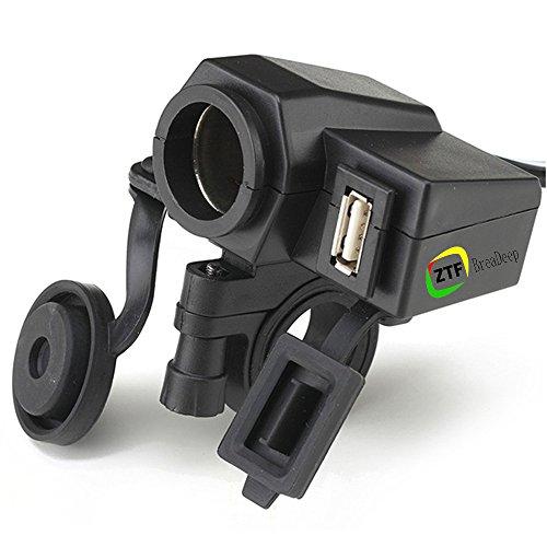 BreaDeep Waterproof Motorcycle handlebar 12V Cigarette Lighter Power Adapter Charger with 5V/2.1A USB Port Integration Outlet Socket - Black