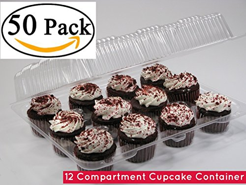 Cupcake Boxes, Cupcake Containers, 12 Pack Cupcake Containers, Clear Plastic 12 Cupcake Container Case of 50 -( 50, 12 Compartment Cupcake Container)
