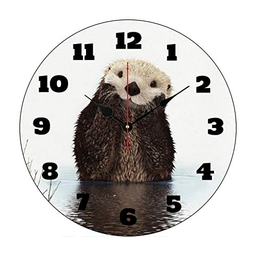 Moonluna Pug Life Funny Dog Gangster Nursery Wooden Wall Clock Battery Operated Roman Numerals Silent Non-Ticking 12 Inches Kids -
