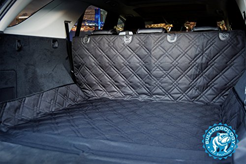 Bulldogology Premium Cargo Liner Cover for Dogs - Heavy Duty Durable Quality for SUVs and Cars - Waterproof, Non-Slip, Adjustable Straps, and Machine Washable - Universal Fit (Large, Black) by Bulldogology