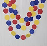 Since Circle Dots Paper Garland Pink White and Gold Glitter - Set of 4 ( 5 Feet each) Total 20 feet. (Yellow Red Blue)