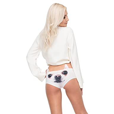 b04ccb550a96 JYSPORT Cute Sexy Panties Briefs 3D Printing Animal Patterns Funny Panties  Underpants Undies Knickers with Ears for Women Girls (Chihuahua):  Amazon.co.uk: ...