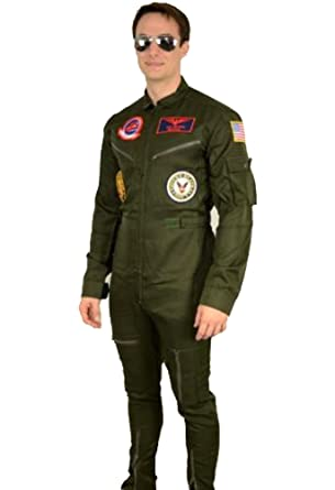 58c57500b7e1 Amazon.com  Top Gun Maverick Goose Costume + Sunglasses Party Men Flight  Suit Jumpsuit  Clothing