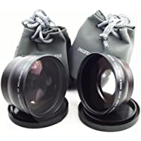Telephoto / Wide-Angle 2 Lens Set for Canon HV40 Camcorder and others
