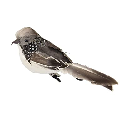 Artificial Feathered Birds Clip On Figurine Animal Statue for Indoor & Outdoor Decor - Grey : Garden & Outdoor