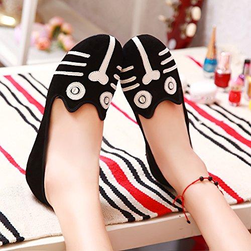 ALBBG Classics Flache Beiläufige Loafer Weiche Tägliche Gehende Slip-On Fahr Sneaker Mädchen Damenschuhe Schwarz Katze