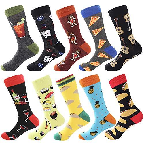 Bonangel Men's Fun Dress Socks-Colorful Funny Novelty Crew Socks Pack,Art -