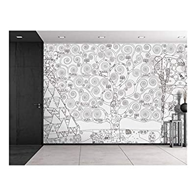 Amazing Creative Design, Created Just For You, Black Outline of Tree of Life by Gustav Klimt on a White Background Wall Mural
