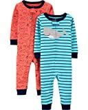 Carter's Boys' Toddler 2-Pack Cotton Footless Pajamas, Whale/Shark, 3T