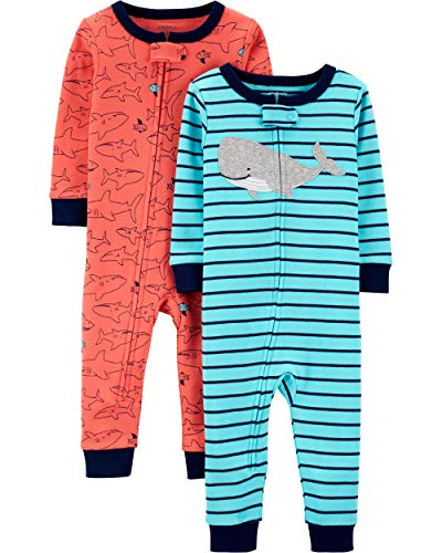 Carter's Baby Boys 2-Pack Cotton Footless Pajamas, Whale/Shark, 18 -