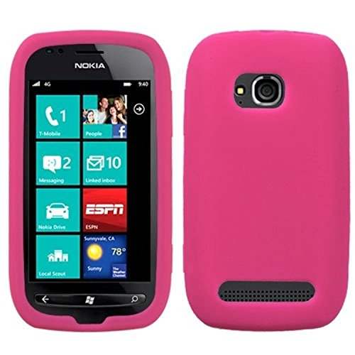 Asmyna NK710CASKSO008 Slim Soft Durable Protective Case for Nokia Lumia 710 - 1 Pack - Retail Packaging - Hot Pink