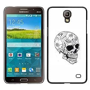 Caucho caso de Shell duro de la cubierta de accesorios de protección BY RAYDREAMMM - Samsung Galaxy Mega 2 - Cráneo floral tatuaje Negro Oscuro Blanca