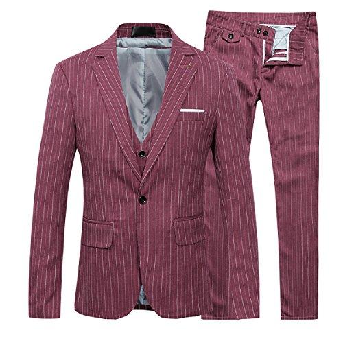 Cloudstyle Men's Stripe Center Vents One Button 3-Piece Suit Blazer Jacket Tux Vest & Trousers